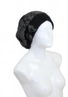 Basken Schleifen Mütze Fischgrad grautöne mit Flockdruck schwarz