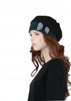 Basken-Schleifen-Mütze schwarz, Schleife kariert, Fleece grün
