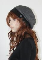 Baskenmütze Fischgrad schwarz/ grau Fleece schwarz