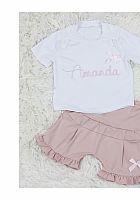 Set Mädchenshirt mit Namen und passender Rüschenhose