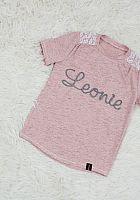 T-Shirt mit Namensschriftzug rosa melange grau