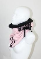 Zipfelloopschal rosa, Spitze schwarz, Fleece schwarz